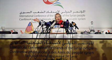 Hillary Clinton, at 'Friends' meeting, has encouraging words for Syria rebels