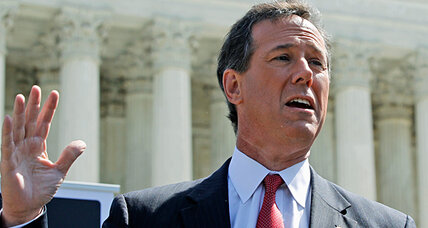Rick Santorum puts 'Romneycare' on trial on steps of Supreme Court
