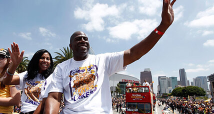 Magic Johnson rides to Dodgers rescue – and all L.A. is smiling