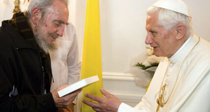 Fidel Castro, excommunicated in 1962, meets with Pope Benedict