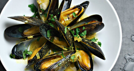 A delicate balance of New England shellfish, world flavors: curried mussels with cilantro