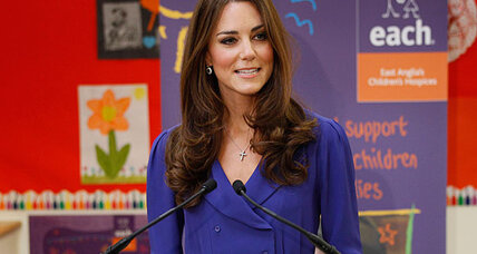 Kate Middleton delivers first speech, but media focus on blue dress