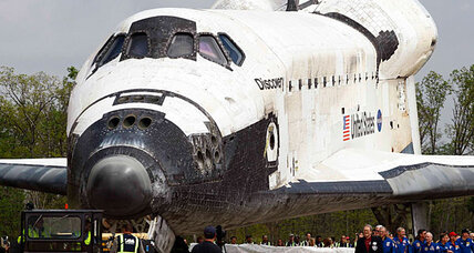 Space Shuttle Discovery arrives at its new home