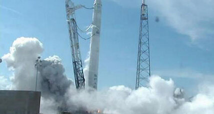 SpaceX test fires rocket bound for space station