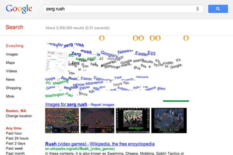 zerg rush how to unlock the newest google easter egg csmonitor com