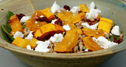 Meatless Monday: Farro salad with roasted winter squash, spinach, and goat cheese