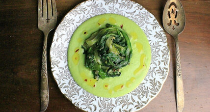 Fresh fava puree and garlicky sauteed chicory