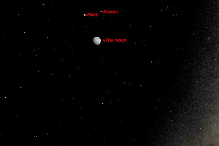 Mars, moon, and star form brilliant sky triangle tonight ...