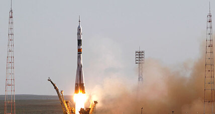 New three-man space-station crew blasts off in Soyuz spacecraft
