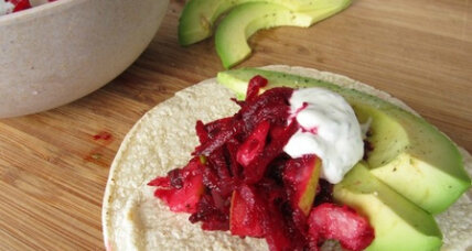 Meatless Monday: Beet and pear slaw on tortillas with dill crème fraiche