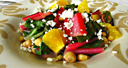 Wilted swiss chard with pine nuts and oranges