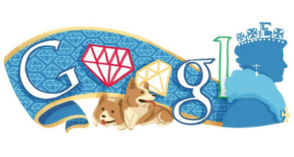 For Queen Elizabeth, a Google doodle of diamonds and doggies