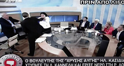 Greek political spokesman assaults Communist Party member on television