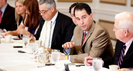 Recall survivor Gov. Scott Walker extends half an olive branch to unions