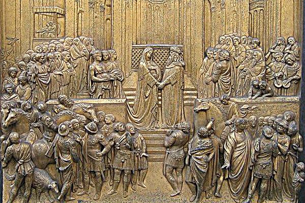 A depiction of the Queen of Sheba meeting King Solomon of Israel from the  Florence Baptistry in Italy.