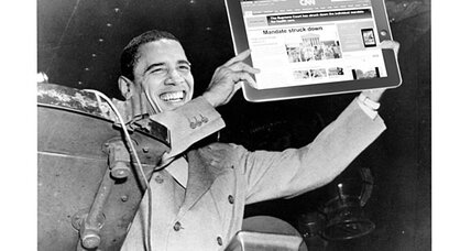 With media flub, Obama gets 'Dewey defeats Truman' moment with health care