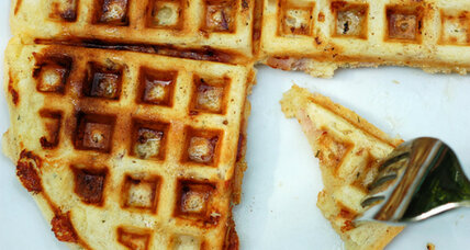 Savory ham, cheddar, and rosemary waffles