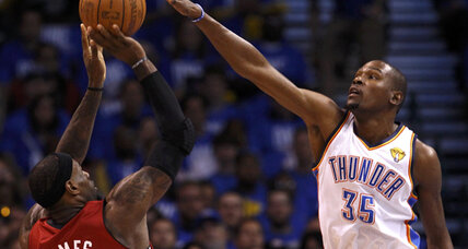 NBA Finals: Thunder overcomes 'opening night jitters' to cool off Heat, 105-94, in Game 1
