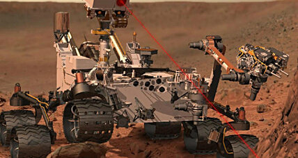Why does NASA's Mars rover have a laser beam attached to its head?