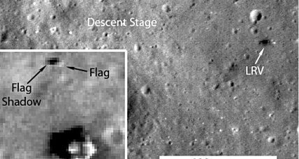 Apollo landing flags still fluttering in lunar breeze