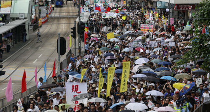 Mass protests in Hong Kong as new leader is sworn in