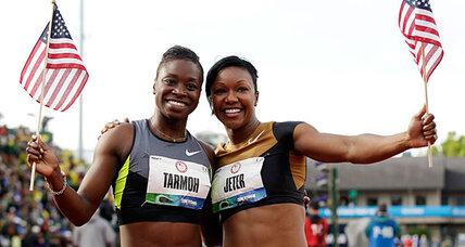 Why did Jeneba Tarmoh pull out of 100-meter runoff?