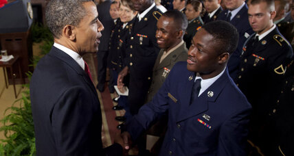 Obama speaks at troop naturalization ceremony. Can immigrants join US military?