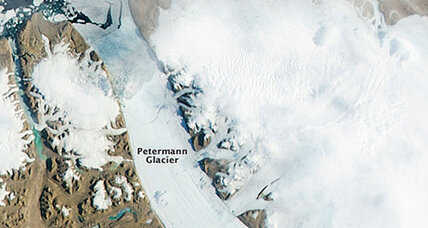 Disintegrating Greenland glacier photographed from space