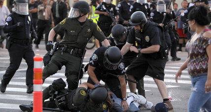 Anaheim police shooting protest turns violent