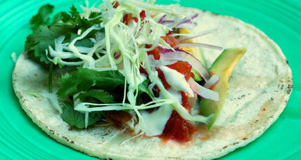 Grilled fish tacos in corn tortillas