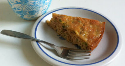 Zucchini apricot cake with lemon glaze