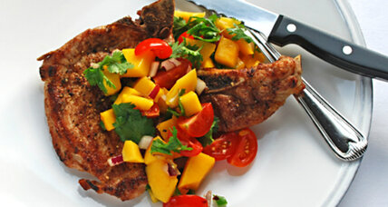 Spicy grilled pork chops with fruit salsa