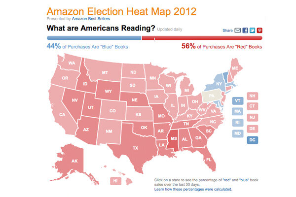 currently some 56 percent of political book purchases in the us are red or conservative leaning according to amazons heat map which is updated daily