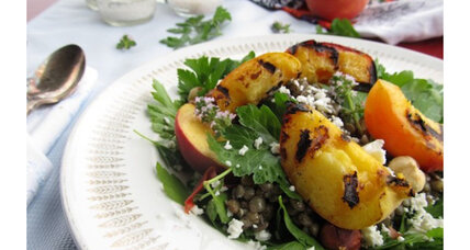 Meatless Monday: Grilled peach, lentil, and parsley salad