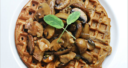 National Waffle Day: Savory waffles with mushrooms and braised veal