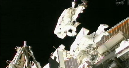 Toothbrush-wielding, spacewalking astronauts repair space station