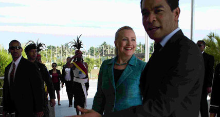 Hillary Clinton in East Timor, hoping to lend stability to Asia's poorest country