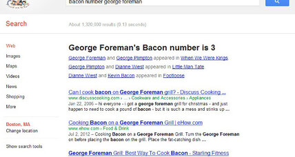 Bacon number: Google turns the party game into a new Easter egg