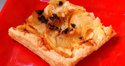 Meatless Monday: Apple cheddar tart with caramelized onions