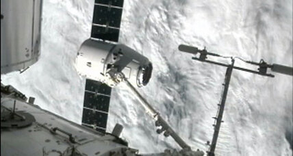 Dragon capsule reaches space station, chocolate ripple ice cream intact