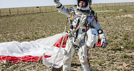 Felix Baumgartner breaks the sound barrier. Sponsored by Red Bull.