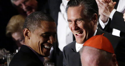In break from tense campaign, Obama and Romney score laughs with standup routines