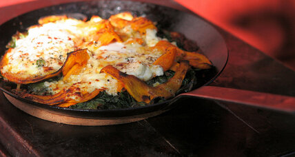 Broiled eggs with kale and roasted squash