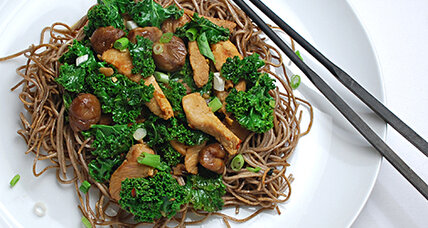 Pork, chestnut, kale stir fry over soba noodles