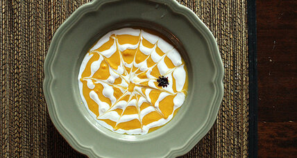 A spooky supper: Calabaza soup with spider web cream