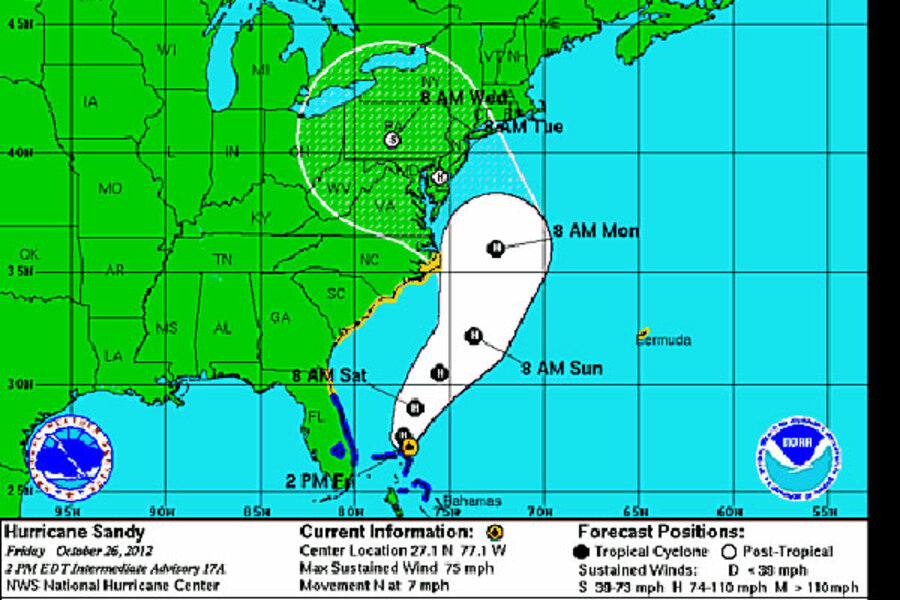 Hurricane Sandy Liveblog Which Way Is Sandy Headed The Latest Frankenstorm Track Csmonitor Com