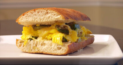 Scrambled egg and cheddar grilled cheese