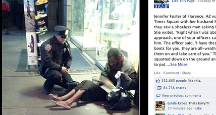 NYC cop buys boots for homeless man, photo goes viral