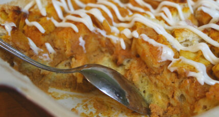 Pumpkin bread pudding with cream cheese icing