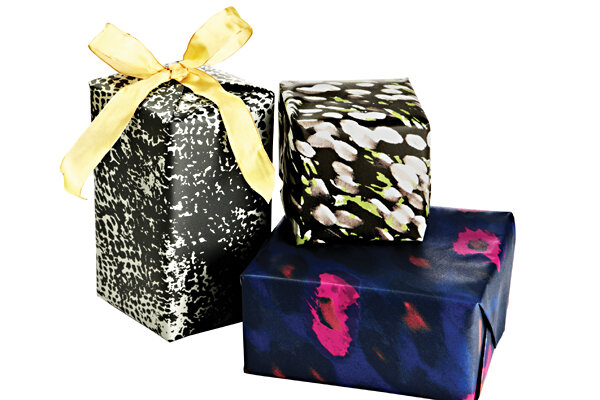30 ways to spend 0 on gift wrap csmonitor this product image released by one kings lane shows gift wrapped boxes with paper designed by stylist designer rachel zoe with some creative thinking negle Images